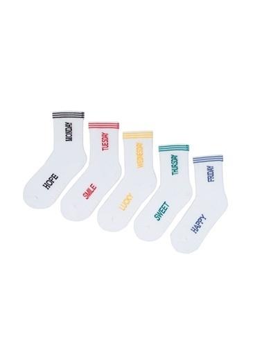 Katia & Bony Haftanın Günleri Mottolu 5'Li Çocuk Soket Çorap  Beyaz